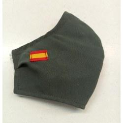 Mascarilla homologada verde militar bandera española