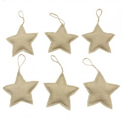 Pack 6 Adornos Navidad Estrellas Natural